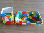 ②折り紙ちぎって・・・